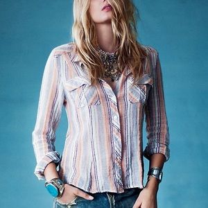 """Free People """"We the Free""""Midwest gauze button down"""